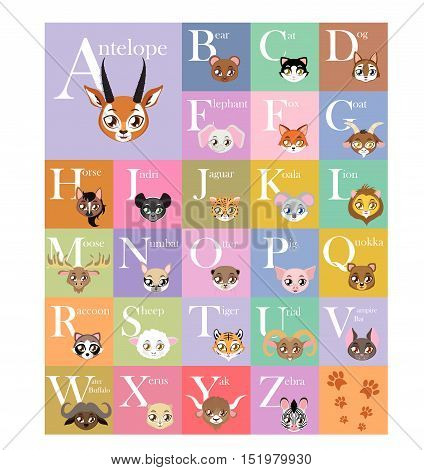 Cute and colorful animal alphabet illustration art