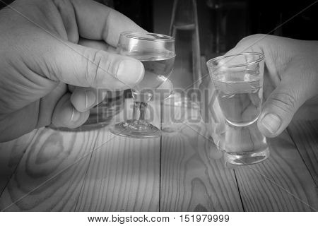 Hands of couple holding glasses of vodka - making toast