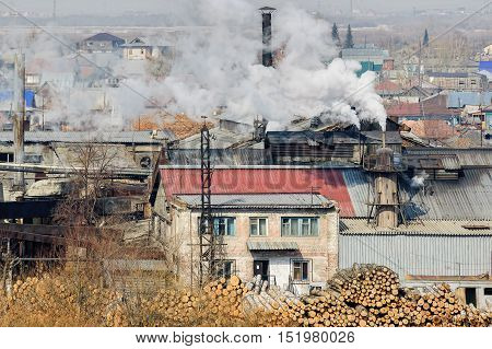 Tyumen, Russia - March 29, 2008: Plywood factory on Tura river bank. Now it is demolished