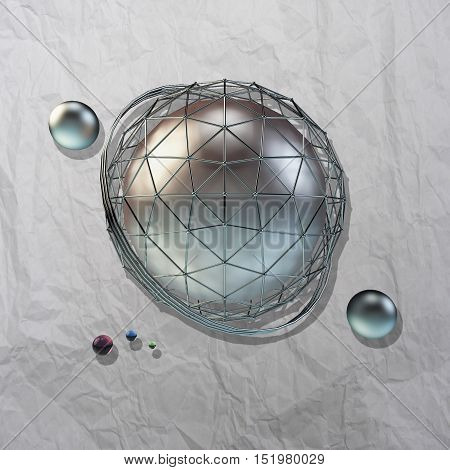 large steel sphere with a glossy color reflections in the iron lattice and small glass spheres on a light background of crumpled paper with shadows added. Abstract background. 3d illustration