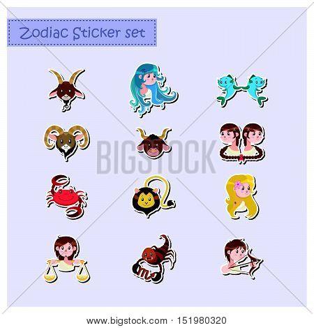 cute cartoon zodiac stickers set illustration art