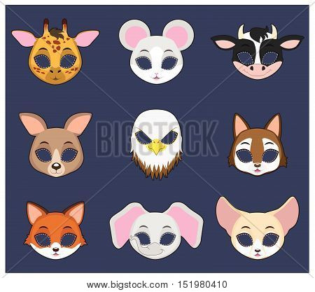 Halloween masks of 9 different animal species set  3