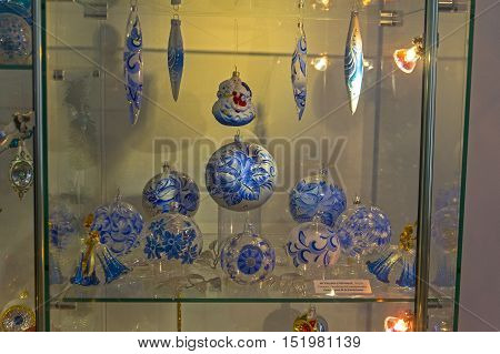 KLIN RUSSIA - JANUARY 16 2016: Museum of Christmas toys. Modern Christmas toys - balls in blue and white colors.