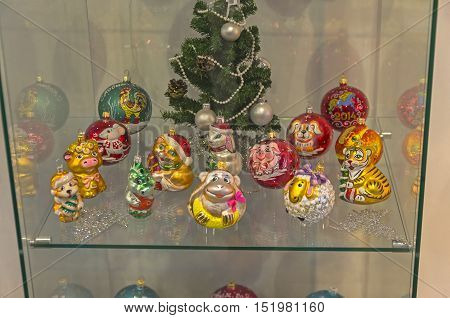 KLIN RUSSIA - JANUARY 16 2016: Modern Christmas toys on the symbols of the Chinese horoscope. Museum of Christmas toys.