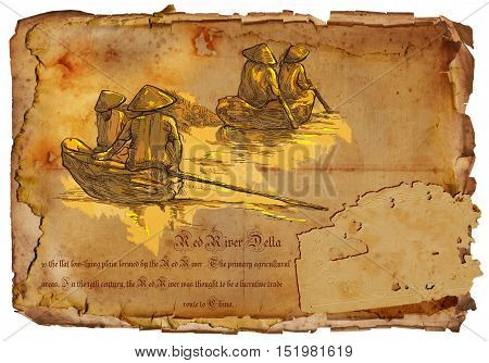 An hand drawn illustration travel - Vietnam. Red River. Natives on boats. Hand drawing picture on old aged paper.