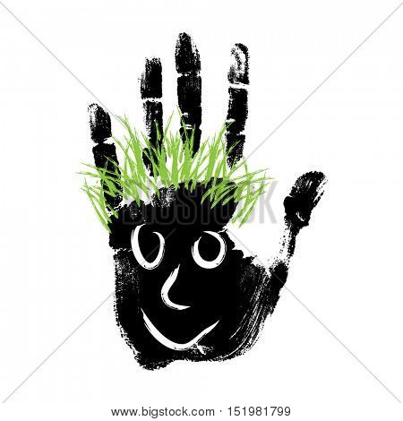 Conceptual cute paint human hand or handprint of child with happy face and green hair isolated on white background
