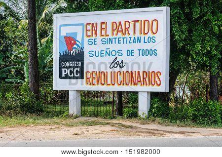 VINALES, CUBA - MARCH 19, 2016: Communist propaganda in the Vinales Valley in Cuba