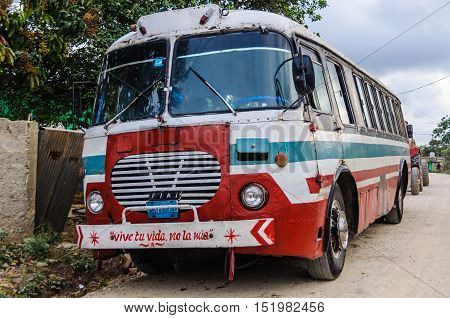 VINALES, CUBA - MARCH 19, 2016: Local bus in the Vinales Valley in Cuba