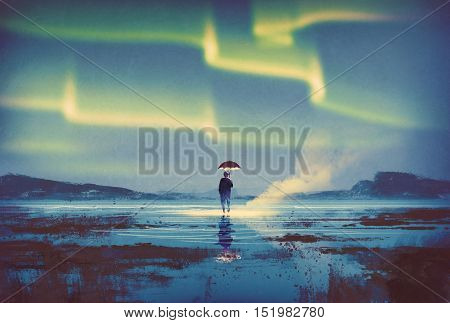 Northern lights Aurora borealis over man holding umbrella lights, illustration painting