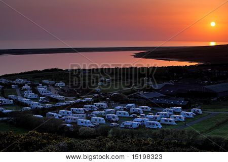 Amazing Sunset Over Caravan Park In Dorset England
