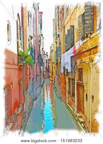 Venice - Calle Frutarol. Color drawing