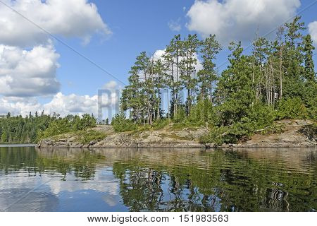 Sunny Day on a North Woods Island in Saganagons Lake in Quetico Provincial Park in Ontario