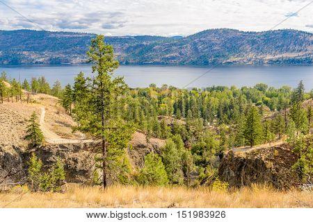 Fragment of trail at Okanagan Lake in Kelowna, Vancouver, Canada.