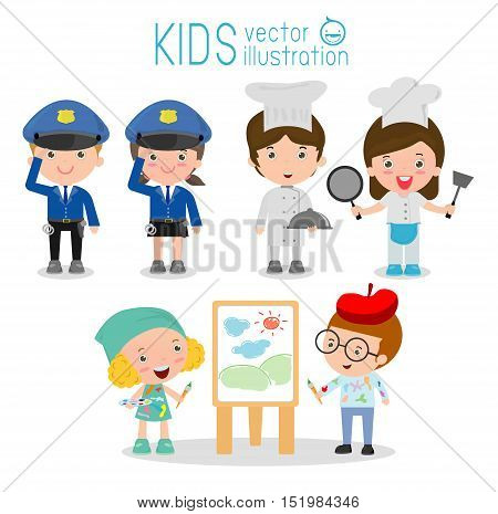set of cute professions for kids isolated on white background ,Professions icon set, police,painter, chef, Children's dream jobs, Happy children in work wear. Vector Illustration