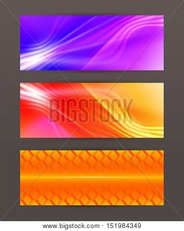 Set Horizontal Banner Headline Abstract Glow Lines14