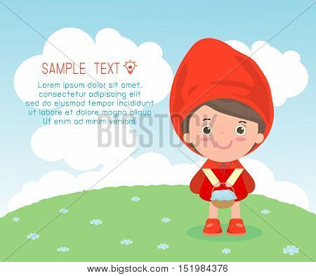Little Red Riding Hood,  Template for advertising brochure,your text ,Cute Little Red Riding Hood, Kids and frame,child and frame,Vector Illustration
