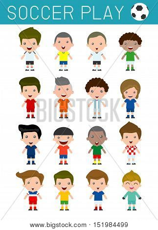 Set of diverse soccer players isolated on white background, football player, Different nationalities and dress styles.