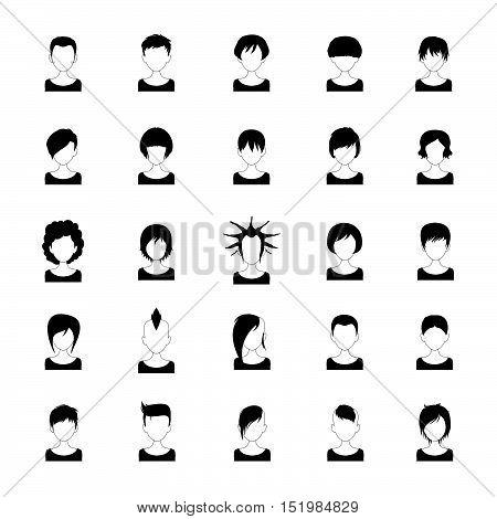 Black and white women avatar - short hair, vector