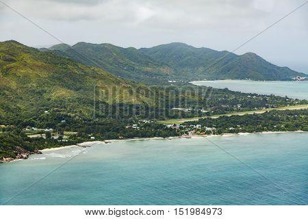 Praslin Coastline And Airport Aerial, Seychelles