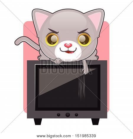 Cute gray cat being naughty and scratching a television screen