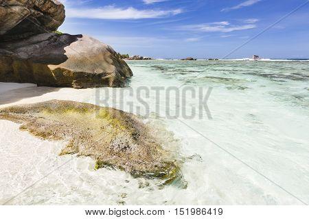 Granite Rocks And White Beach, La Digue, Seychelles