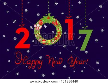 Paper applique for New Year 2017 greeting with hanging christmas wreath and numbers