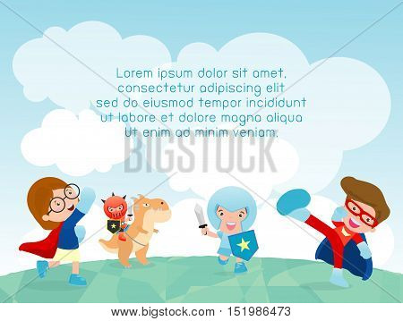 superhero kids at playground, superhero kids playing outside, Template for advertising brochure,your text