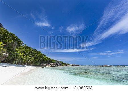 Tropical White Beach, La Digue, Seychelles