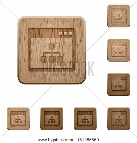 Set of carved wooden networking application buttons in 8 variations.