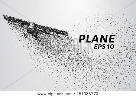 The plane of the particles. Agricultural aircraft takes off. The plane disintegrates to smaller molecules. Vector illustration