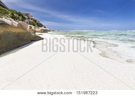 White Beach And Turquoise Lagoon, La Digue, Seychelles