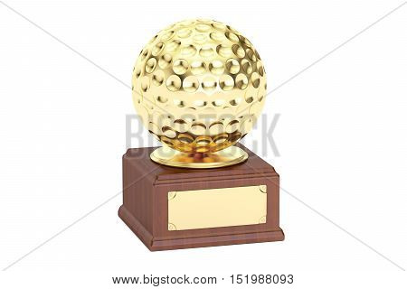 Gold award cup golf 3D rendering isolated on white background