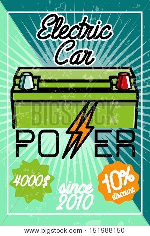 Infographic poster about electric cars. Modern vector illustration explaining the benefits of electric cars.