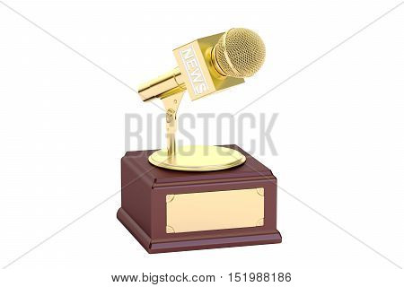 golden journalism award 3D rendering isolated on white background
