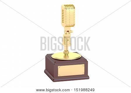Golden Music Award 3D rendering isolated on white background