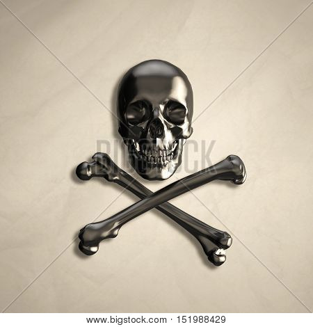 metal human skull and crossbones on the background of old crumpled paper with the addition of shadows. 3d illustration