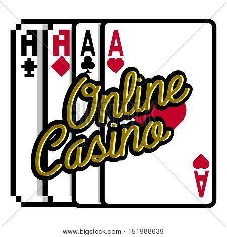 Color vintage online casino emblem. Vector illustration, EPS 10