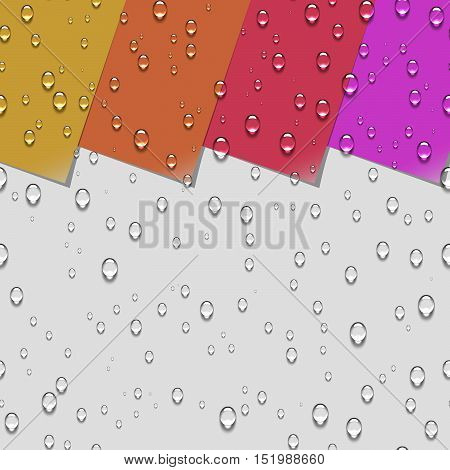 Water Transparent Drops Seamless Pattern. Colorful Paper Labels with Curled Corner Background Examples. Vector Illustration