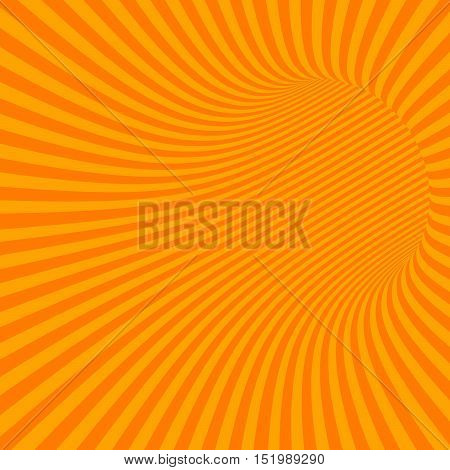 Orange Striped Abstract Hypnotic Tunnel. Vector Illustration
