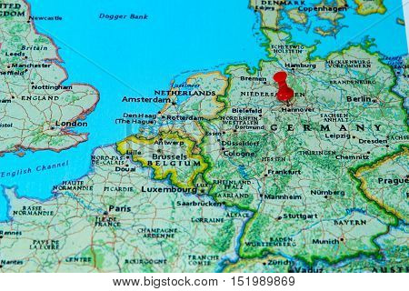 Hannover, Germany  Pinned On A Map Of Europe