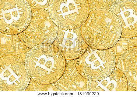 Golden Bitcoins Background
