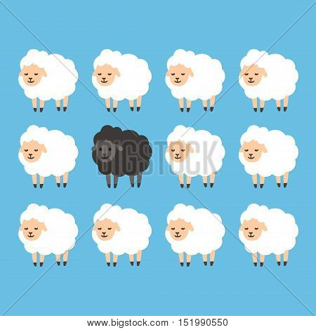 Black sheep between white sheep vector illustration. Stand out from the crowd concept.