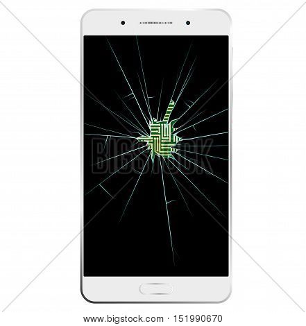 White Smartphone with broken screen. Communication is interrupted. Through hole printed circuit board is visible.