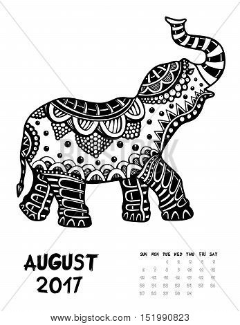 April 2017 calendar Zendoodle style, start on sunday, Elephant. Patterned zentangle, black and white. For Print anti-stress coloring books for different ages peoples.