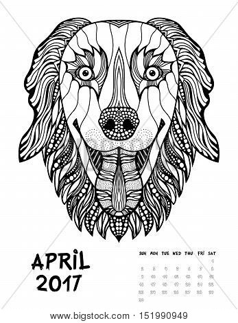 April 2017 calendar Zendoodle style, start on sunday, Funny Dog. Patterned zentangle, black and white. For Print anti-stress coloring books for different ages peoples.