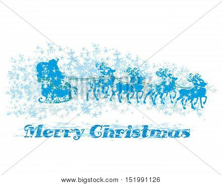 santa claus flying with the sack full of presents - icon , vector illustration