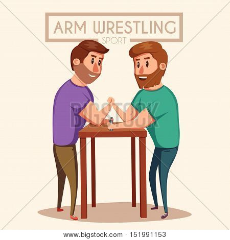 Arm Wrestling. Battle fighters. Cartoon vector illustration. Muscular people. Strong men. Challenge of friends