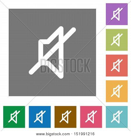 Mute flat icon set on color square background.