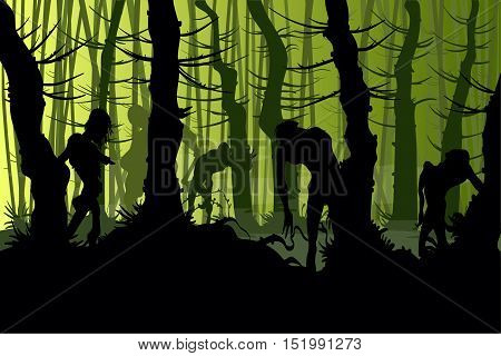 Vector illustration of zombies roaming a creepy night forest with mist