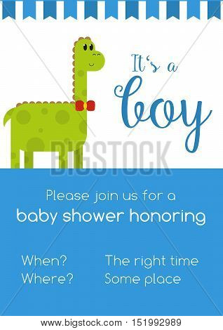 Blue and white invitaion for boy baby shower honoring with template text - to be replaced with your info with cute green male dinosaur and text It's a girl